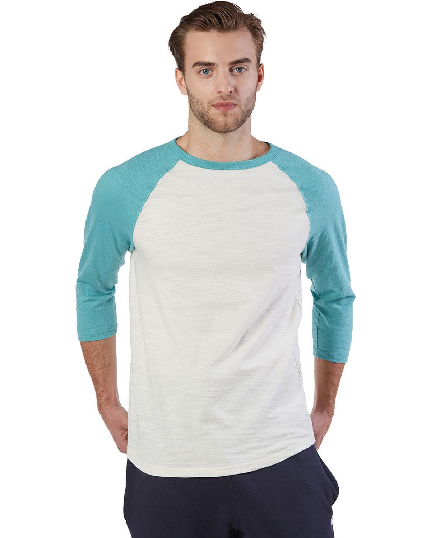 Champion Adult Ringspun Slub Baseball T-Shirt CHLK WHT/ BR SAG