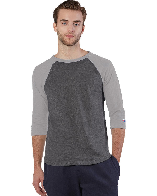 Champion Adult Ringspun Slub Baseball T-Shirt CH HTH/ OXFD GRY