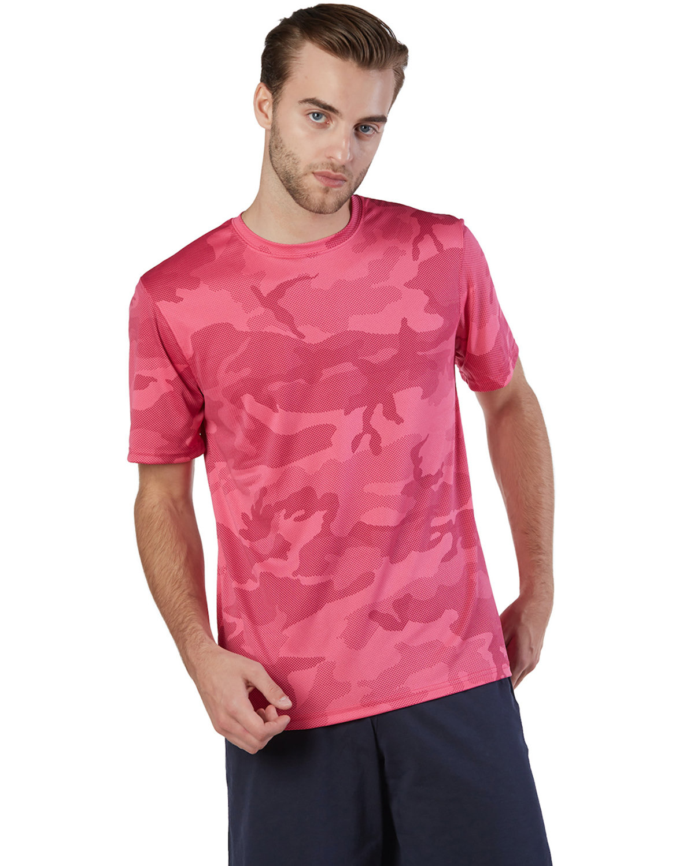 Champion Adult 4.1 oz. Double Dry® Interlock T-Shirt WOW PINK CAMO