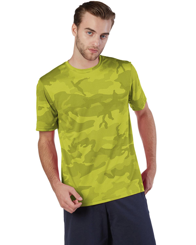 Champion Adult 4.1 oz. Double Dry® Interlock T-Shirt SFTY GREEN CAMO