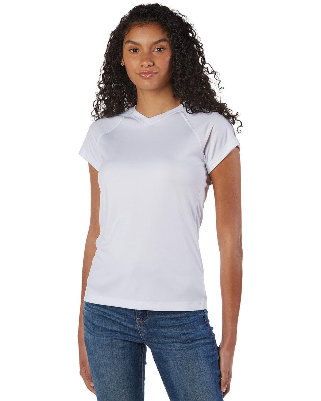 Champion Ladies' 4.1 oz. Double Dry® V-Neck T-Shirt WHITE