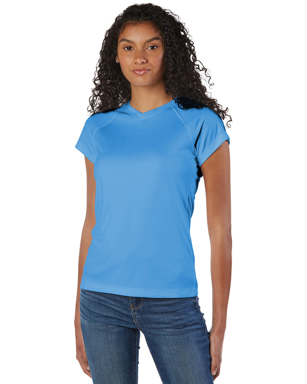 Champion Ladies' 4.1 oz. Double Dry® V-Neck T-Shirt LIGHT BLUE