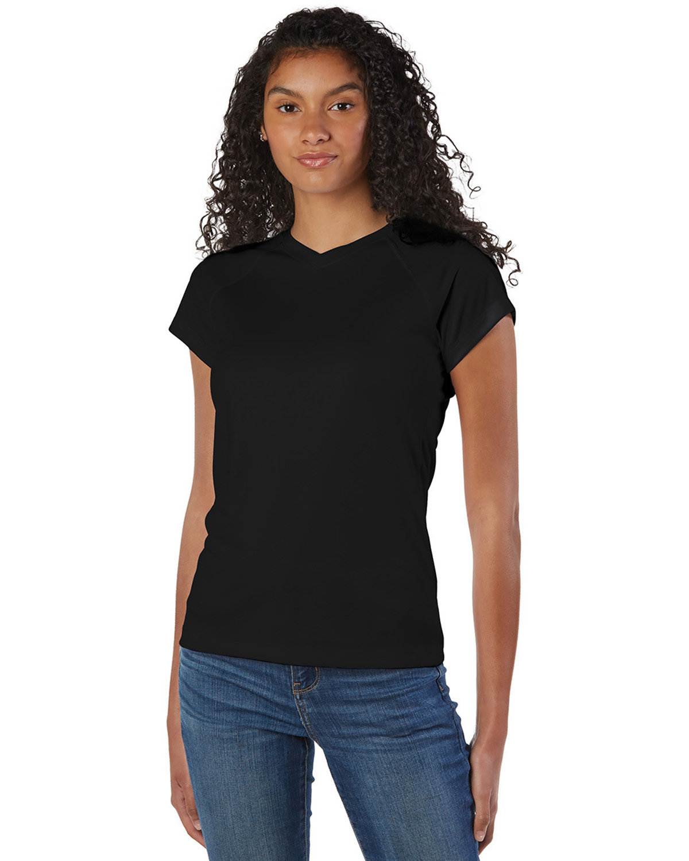 Champion Ladies' 4.1 oz. Double Dry® V-Neck T-Shirt BLACK