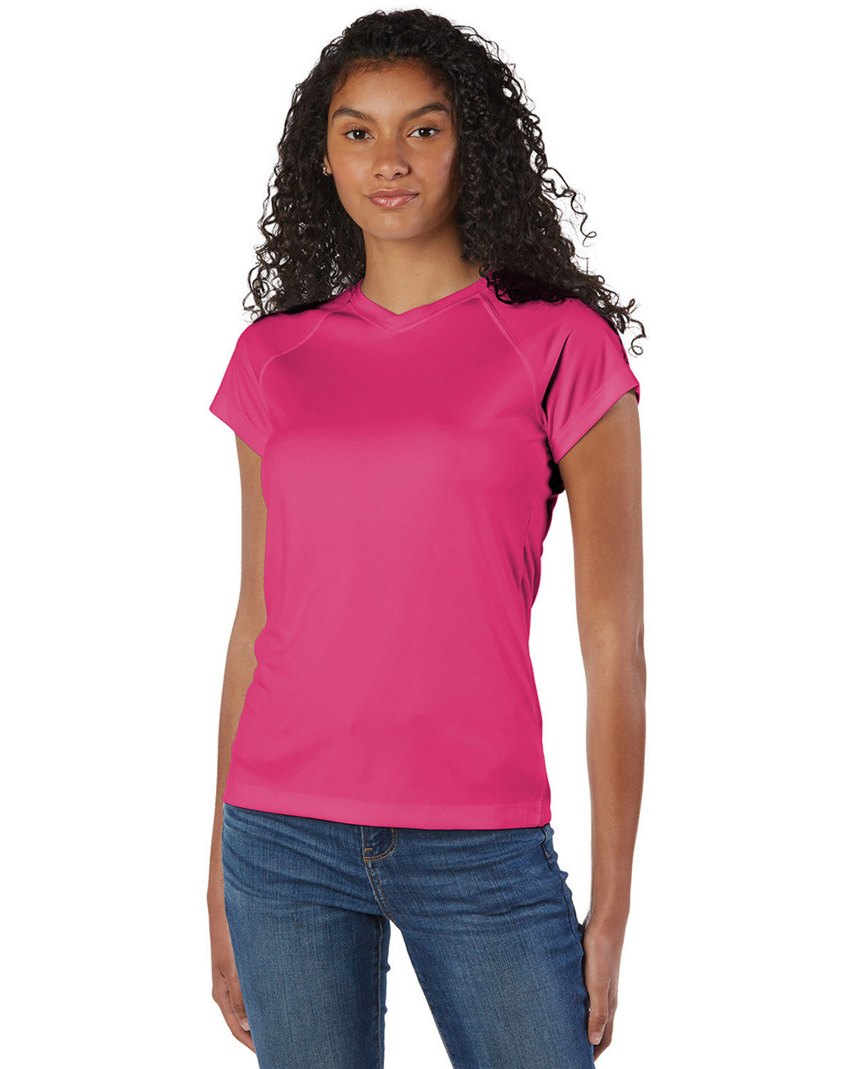 Champion Ladies' 4.1 oz. Double Dry® V-Neck T-Shirt WOW PINK