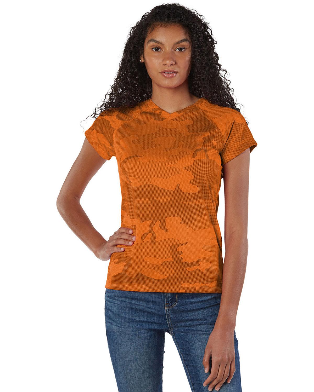 Champion Ladies' 4.1 oz. Double Dry® V-Neck T-Shirt SFTY ORANGE CAMO