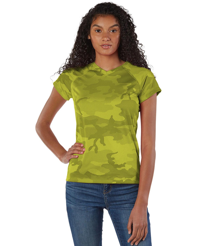 Champion Ladies' 4.1 oz. Double Dry® V-Neck T-Shirt SFTY GREEN CAMO