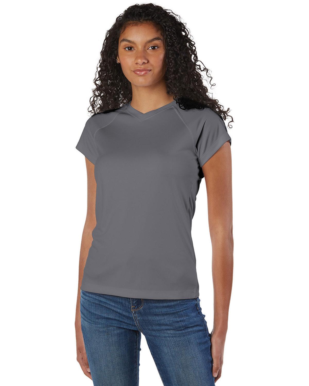 Champion Ladies' 4.1 oz. Double Dry® V-Neck T-Shirt STONE GRAY CAMO