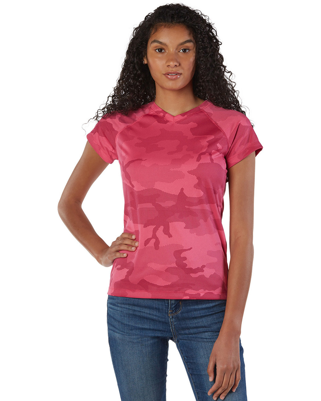 Champion Ladies' 4.1 oz. Double Dry® V-Neck T-Shirt WOW PINK CAMO