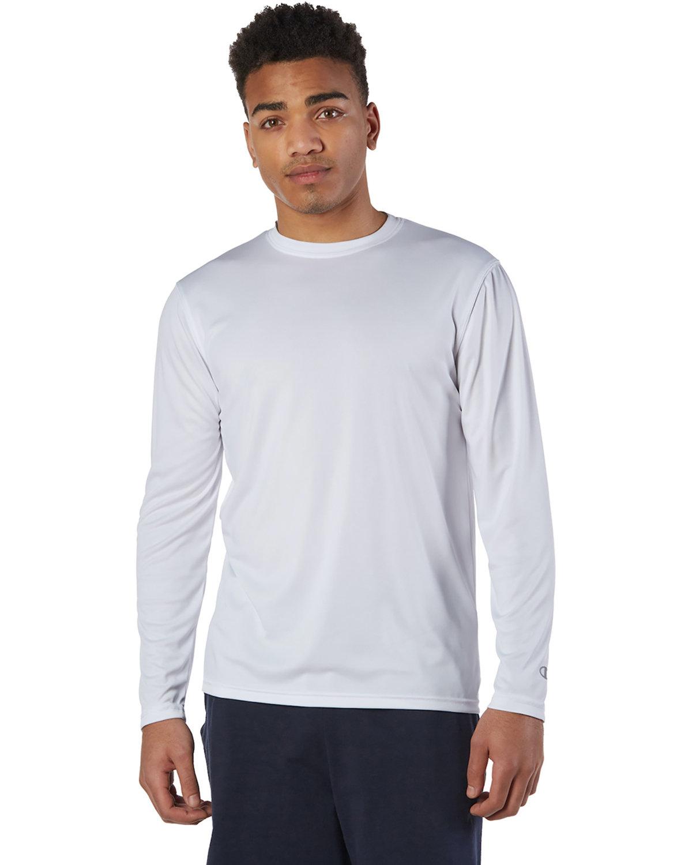 Champion Adult 4.1 oz. Double Dry® Long-Sleeve Interlock T-Shirt WHITE