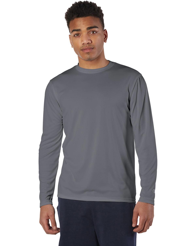 Champion Adult 4.1 oz. Double Dry® Long-Sleeve Interlock T-Shirt STONE GRAY