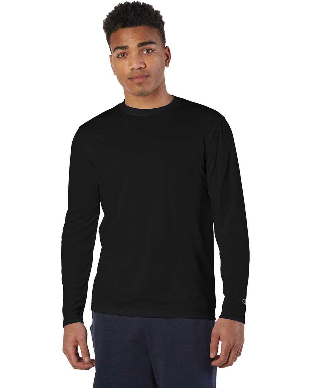 Champion Adult 4.1 oz. Double Dry® Long-Sleeve Interlock T-Shirt BLACK