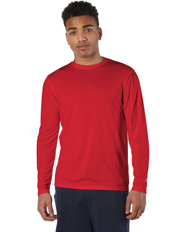 Champion Adult 4.1 oz. Double Dry® Long-Sleeve Interlock T-Shirt SCARLET