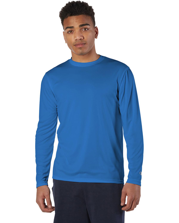 Champion Adult 4.1 oz. Double Dry® Long-Sleeve Interlock T-Shirt ROYAL BLUE