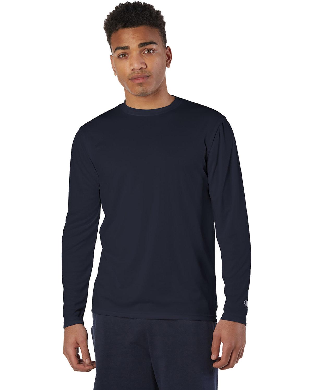 Champion Adult 4.1 oz. Double Dry® Long-Sleeve Interlock T-Shirt NAVY