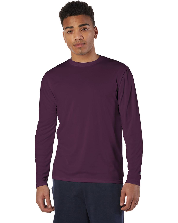 Champion Adult 4.1 oz. Double Dry® Long-Sleeve Interlock T-Shirt MAROON