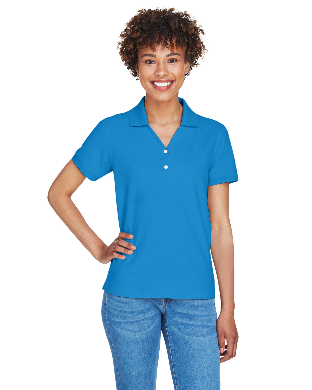 Devon & Jones Ladies' Pima Piqué Short-Sleeve Y-Collar Polo FRENCH BLUE