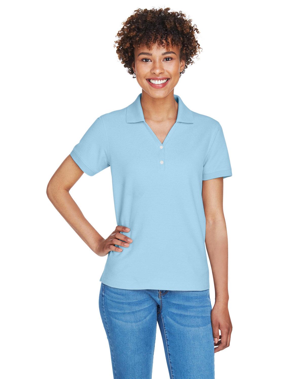 Devon & Jones Ladies' Pima Piqué Short-Sleeve Y-Collar Polo CRYSTAL BLUE