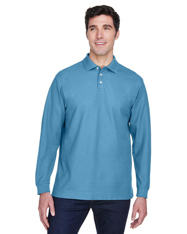 Devon & Jones Men's Pima Piqué Long-Sleeve Polo SLATE BLUE