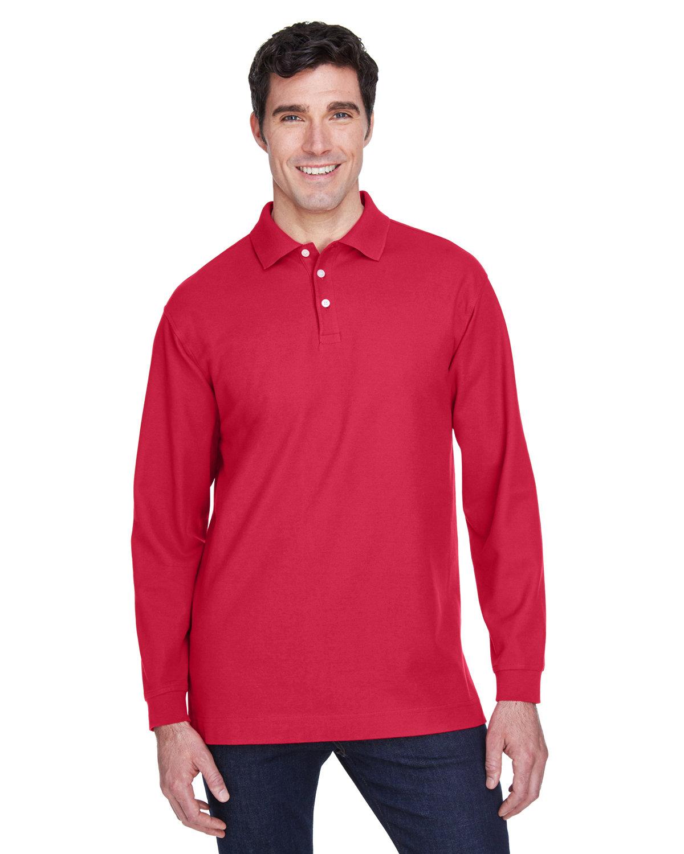 Devon & Jones Men's Pima Piqué Long-Sleeve Polo RED