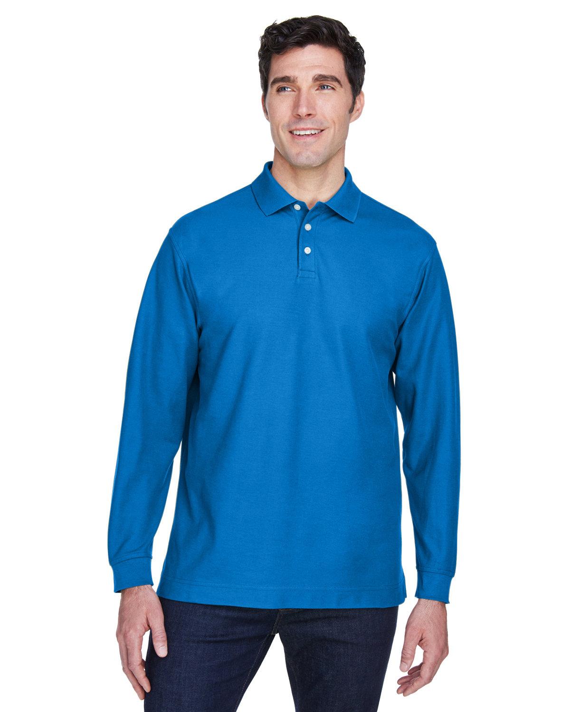 Devon & Jones Men's Pima Piqué Long-Sleeve Polo FRENCH BLUE