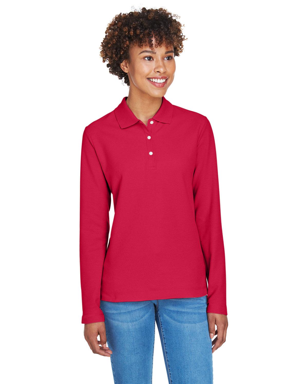 Devon & Jones Ladies' Pima Piqué Long-Sleeve Polo RED