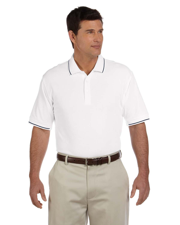 Devon & Jones Men's Pima Piqué Short-Sleeve Tipped Polo WHITE/ NAVY