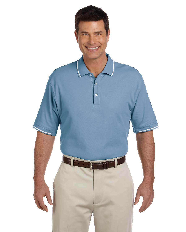 Devon & Jones Men's Pima Piqué Short-Sleeve Tipped Polo SLATE BLUE/ WHT