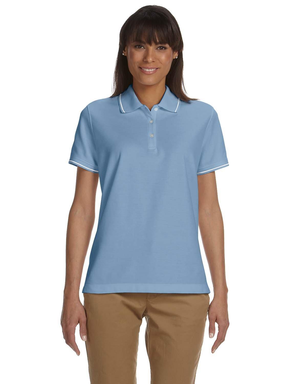 Devon & Jones Ladies' Pima Piqué Short-Sleeve Tipped Polo SLATE BLUE/ WHT