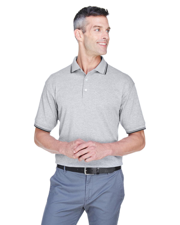 Devon & Jones Men's Tipped Perfect Pima Interlock Polo GRY HEATHER/ NVY