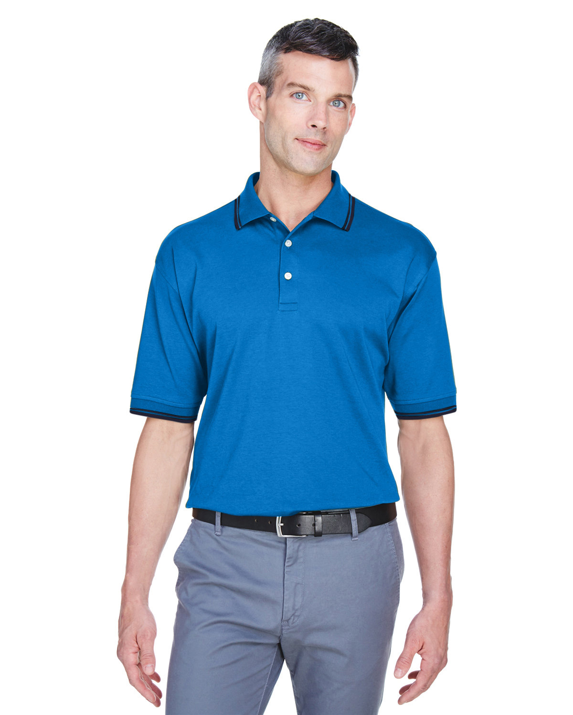 Devon & Jones Men's Tipped Perfect Pima Interlock Polo FRENCH BLUE/ NVY