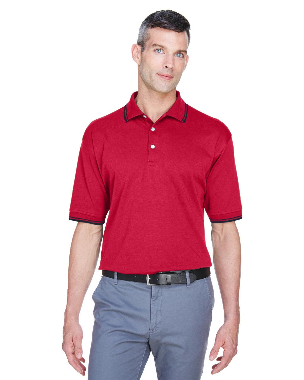 Devon & Jones Men's Tipped Perfect Pima Interlock Polo RED/ NAVY
