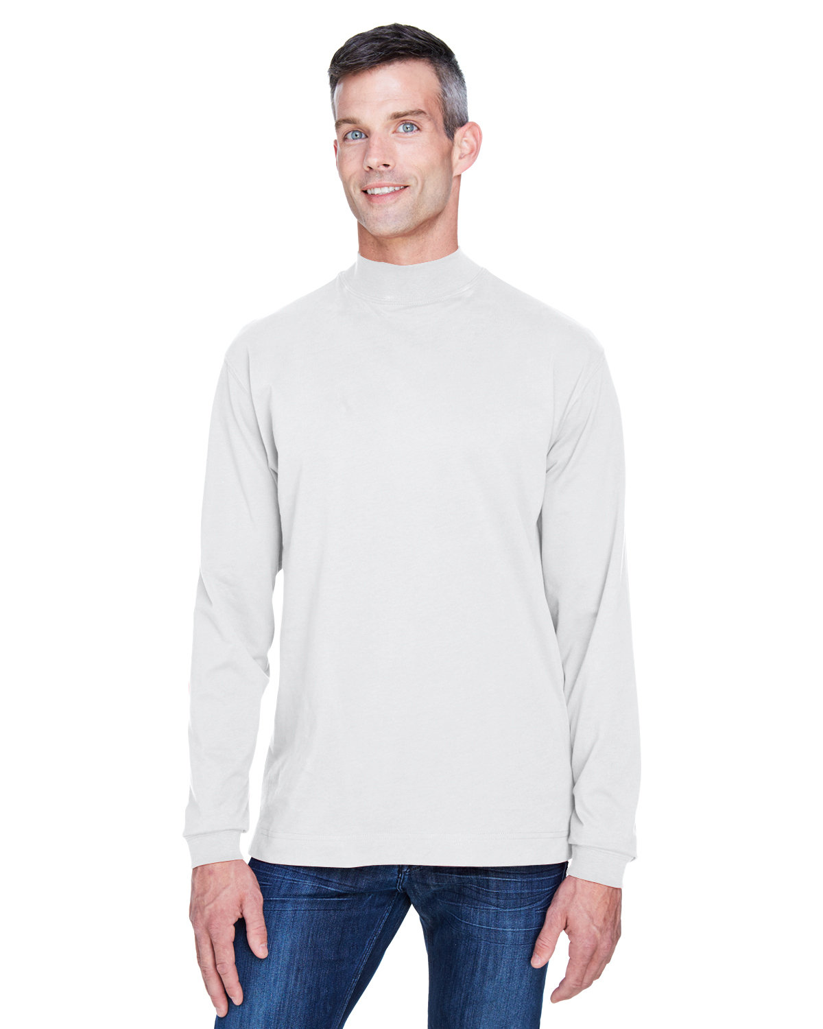 Devon & Jones Adult Sueded Cotton Jersey Mock Turtleneck WHITE