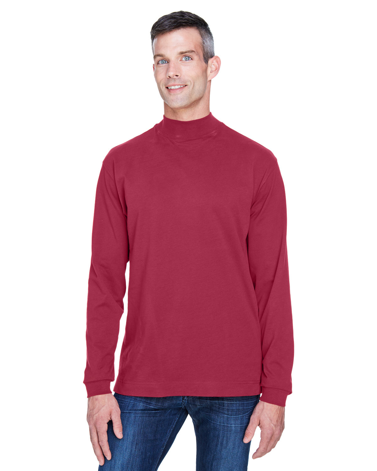 Devon & Jones Adult Sueded Cotton Jersey Mock Turtleneck CRIMSON