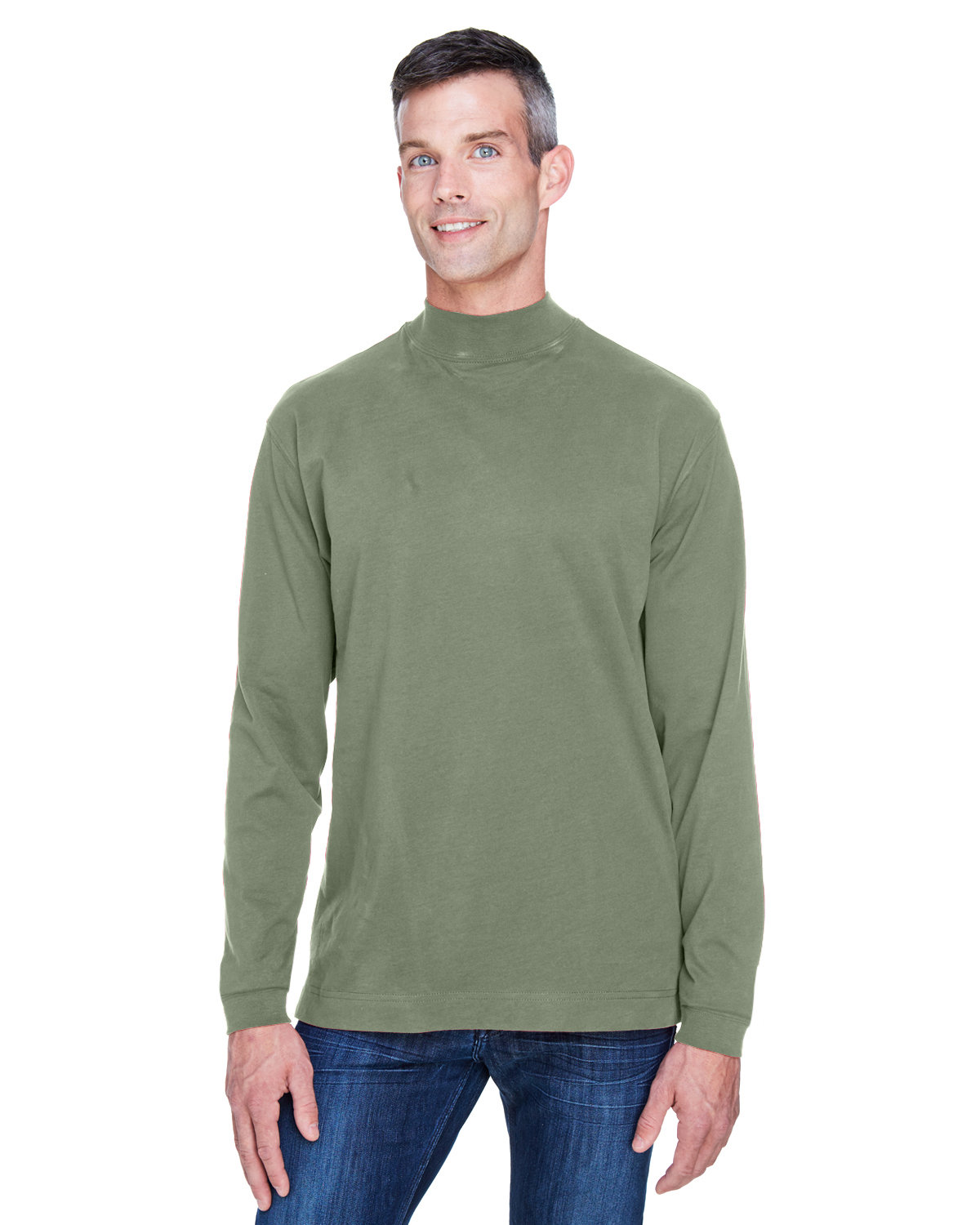 Devon & Jones Adult Sueded Cotton Jersey Mock Turtleneck DILL