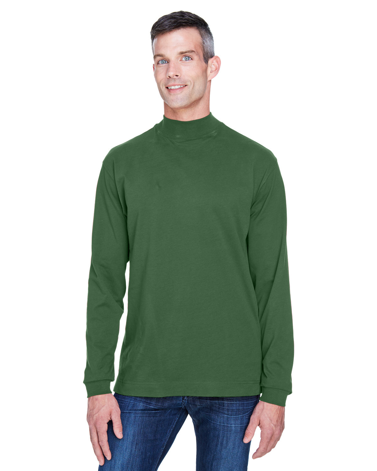Devon & Jones Adult Sueded Cotton Jersey Mock Turtleneck FOREST