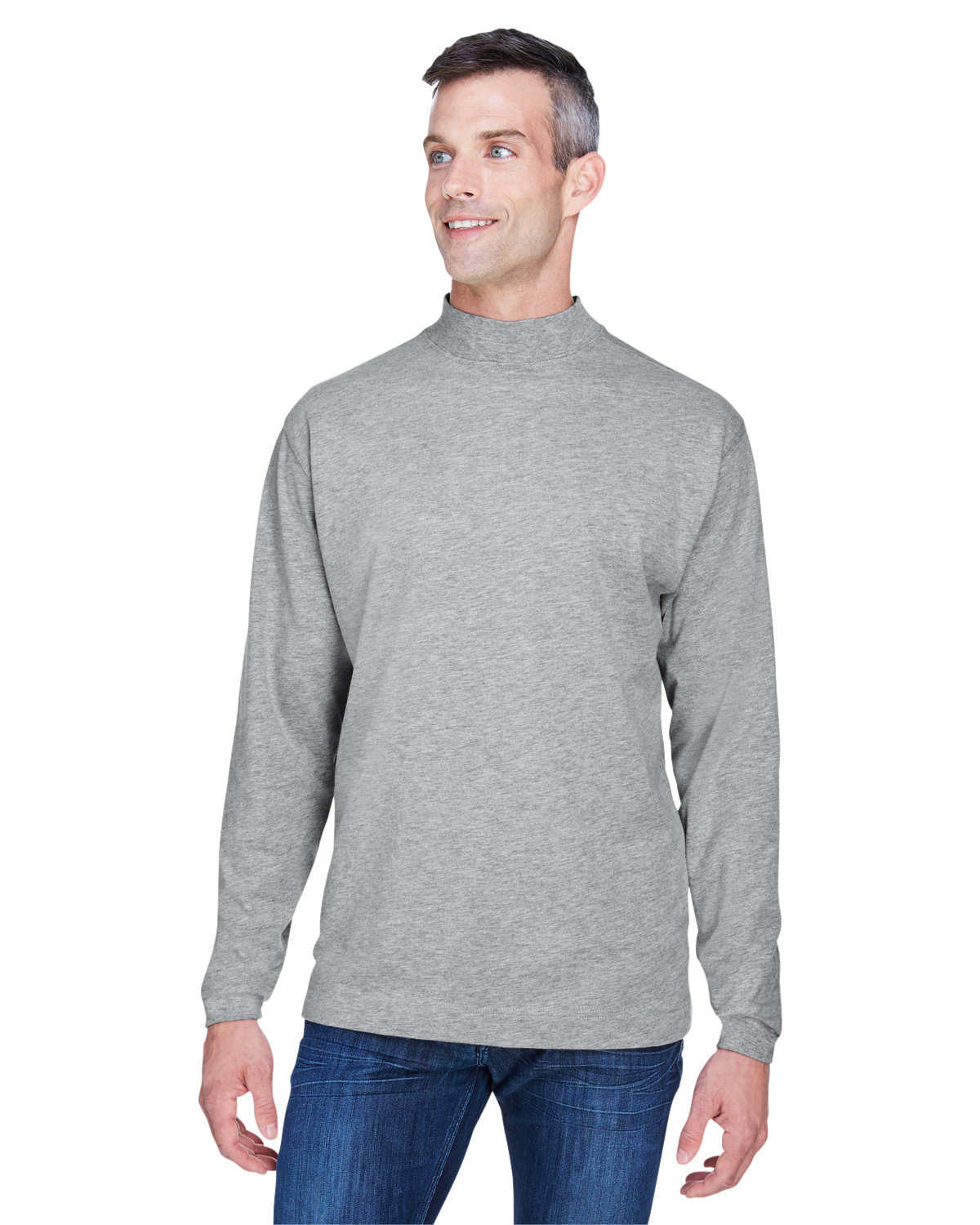 Devon & Jones Adult Sueded Cotton Jersey Mock Turtleneck GREY HEATHER