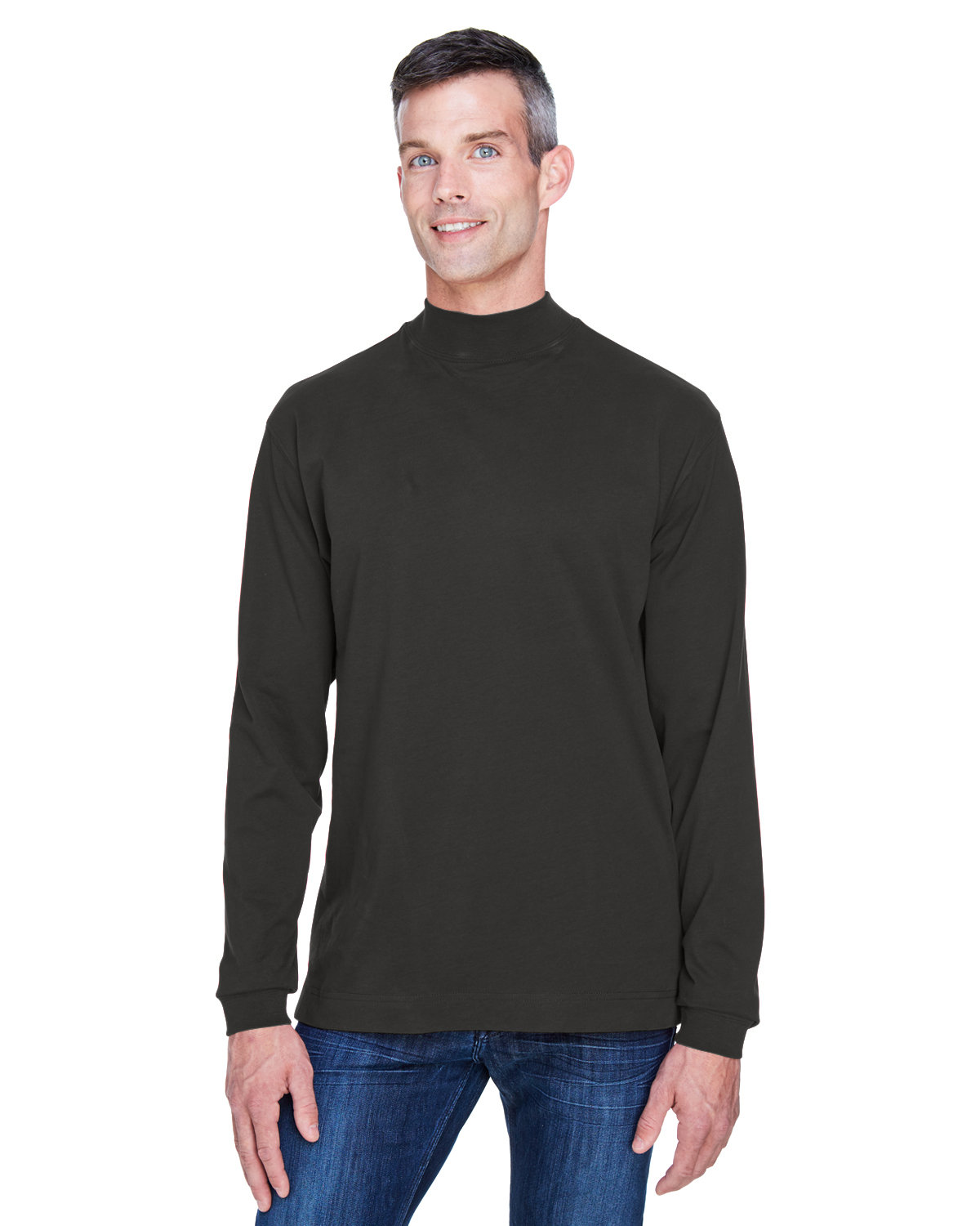 Devon & Jones Adult Sueded Cotton Jersey Mock Turtleneck BLACK