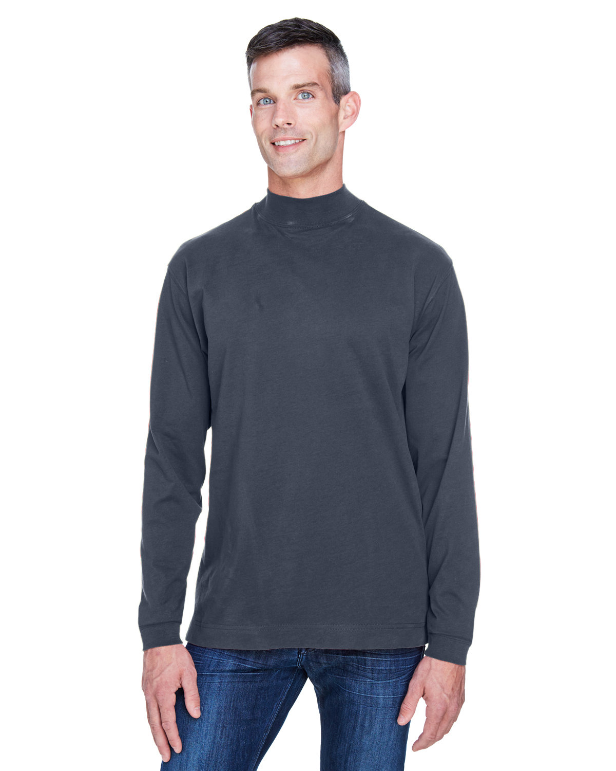 Devon & Jones Adult Sueded Cotton Jersey Mock Turtleneck NAVY