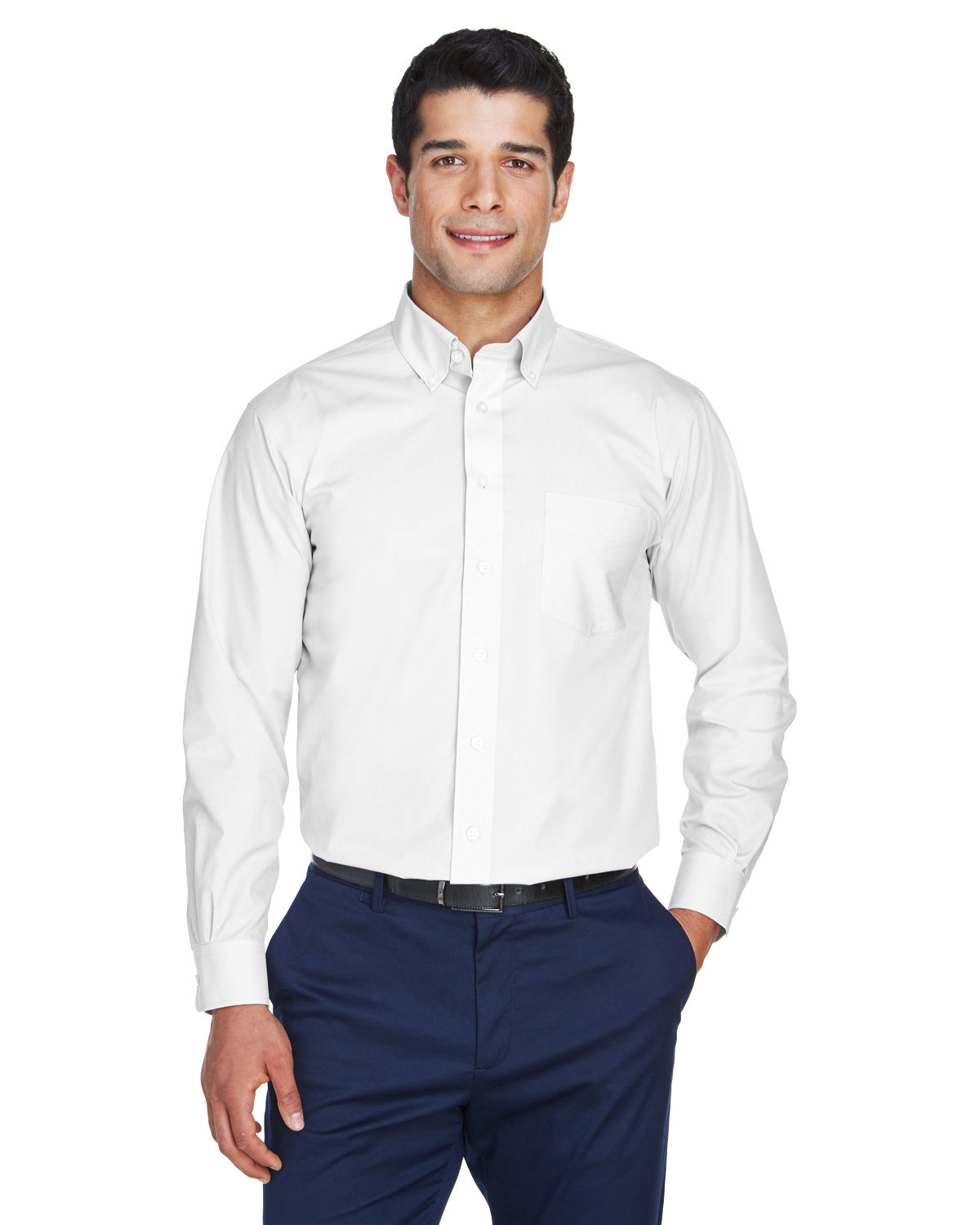 Devon & Jones Men's Crown Woven Collection® Solid Broadcloth WHITE