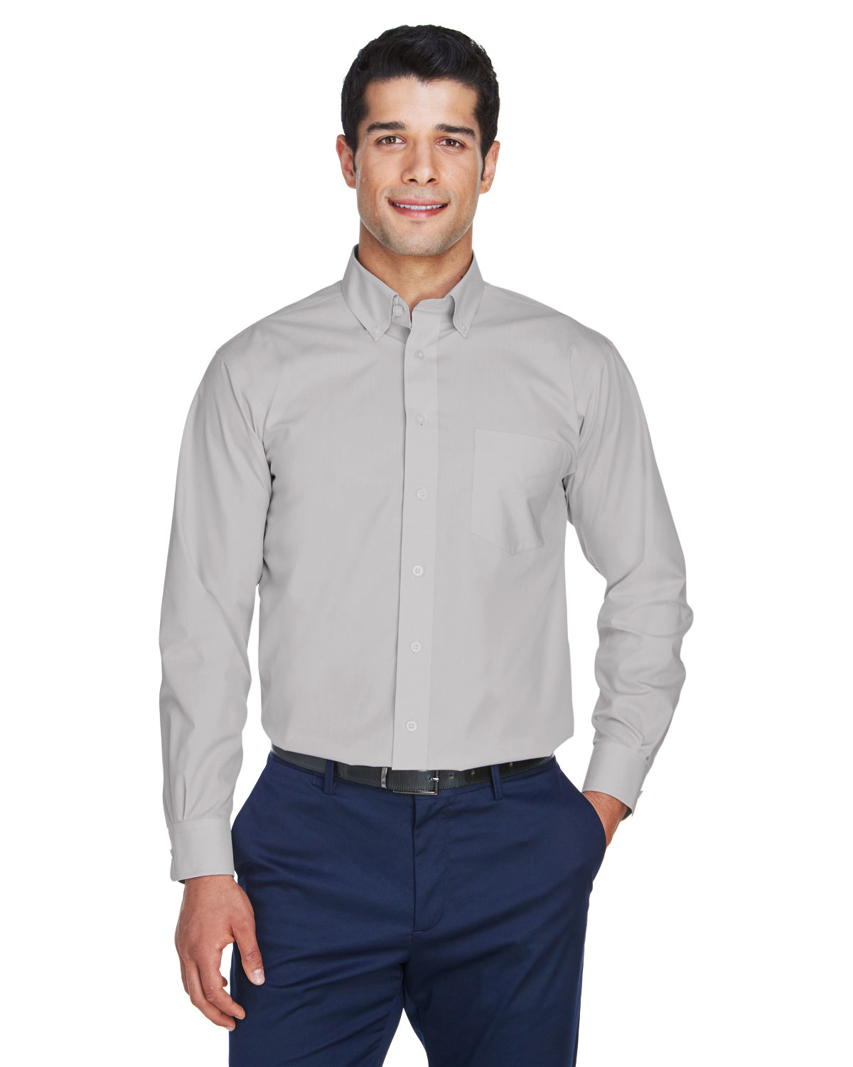 Devon & Jones Men's Crown Woven Collection® Solid Broadcloth SILVER