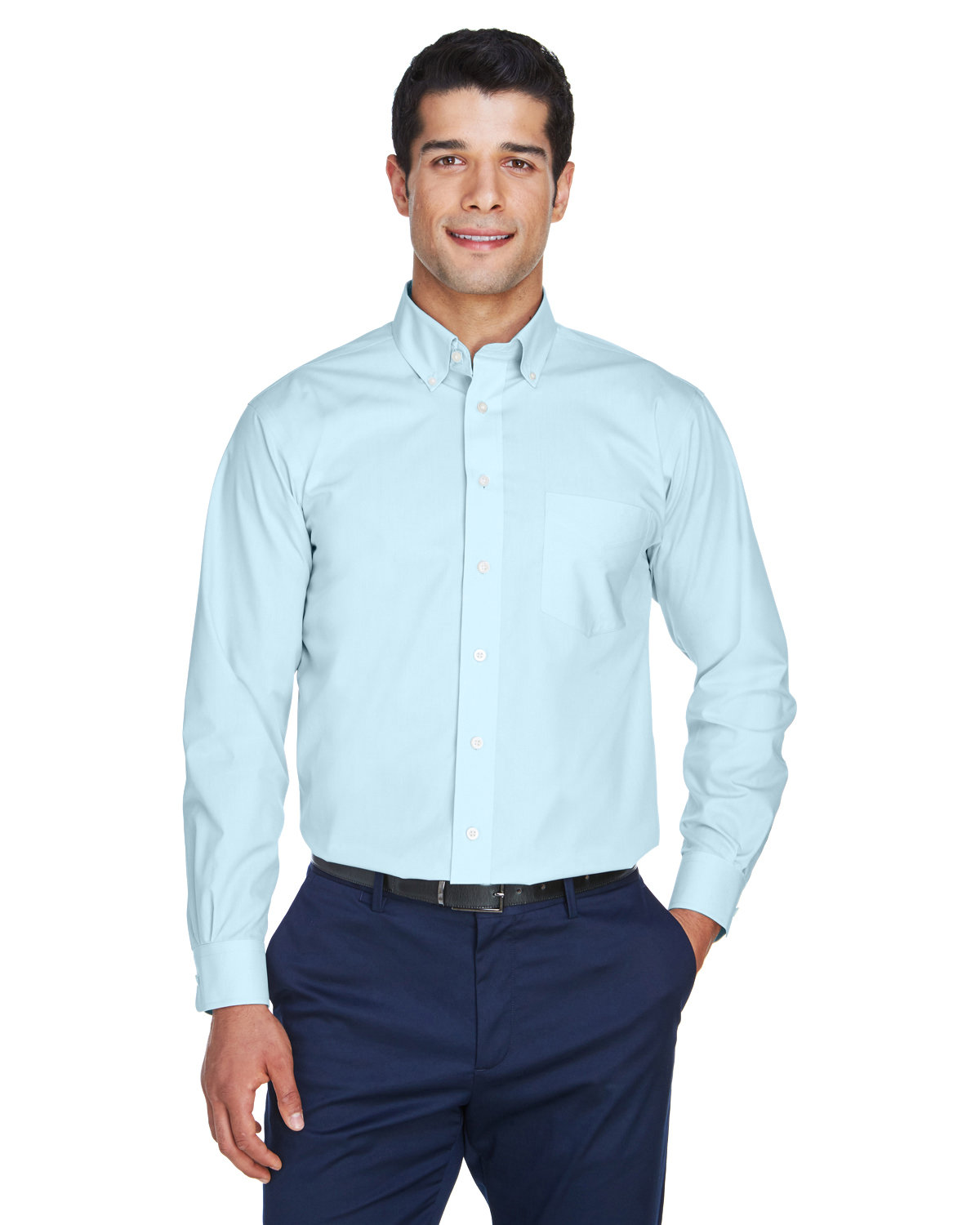 Devon & Jones Men's Crown Woven Collection® Solid Broadcloth CRYSTAL BLUE