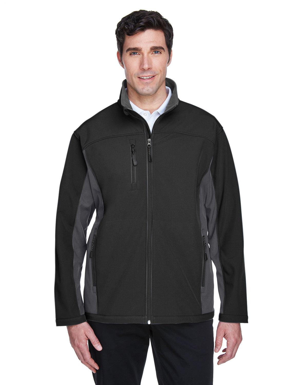 Devon & Jones Men's Soft Shell Colorblock Jacket BLCK/ DK CHRCOAL