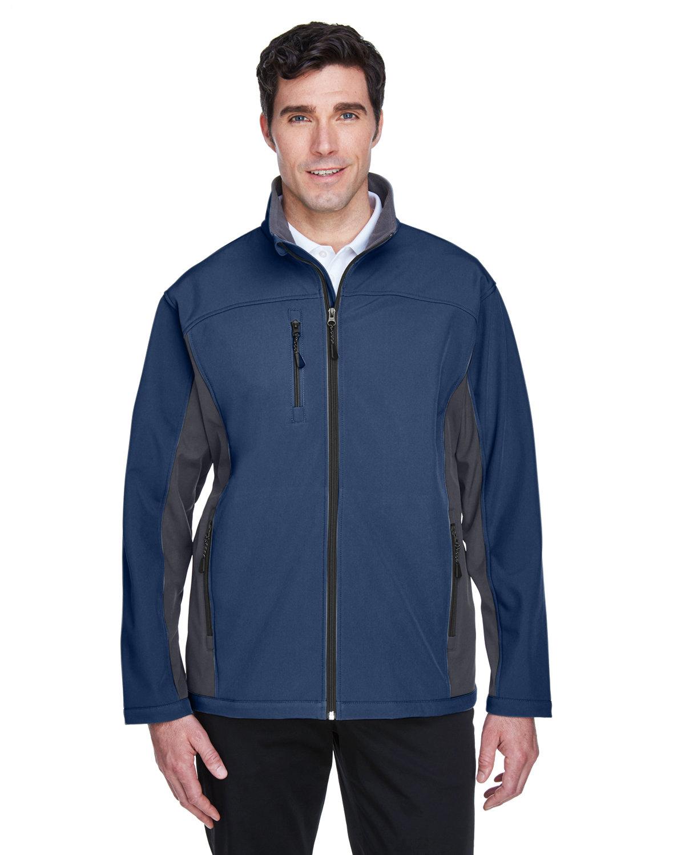 Devon & Jones Men's Soft Shell Colorblock Jacket NAVY/ DK CHRCOAL