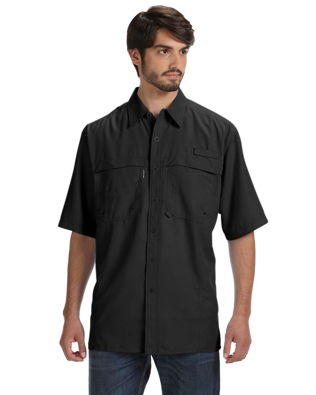 Dri Duck Men's 100% Polyester Short-Sleeve Fishing Shirt BLACK