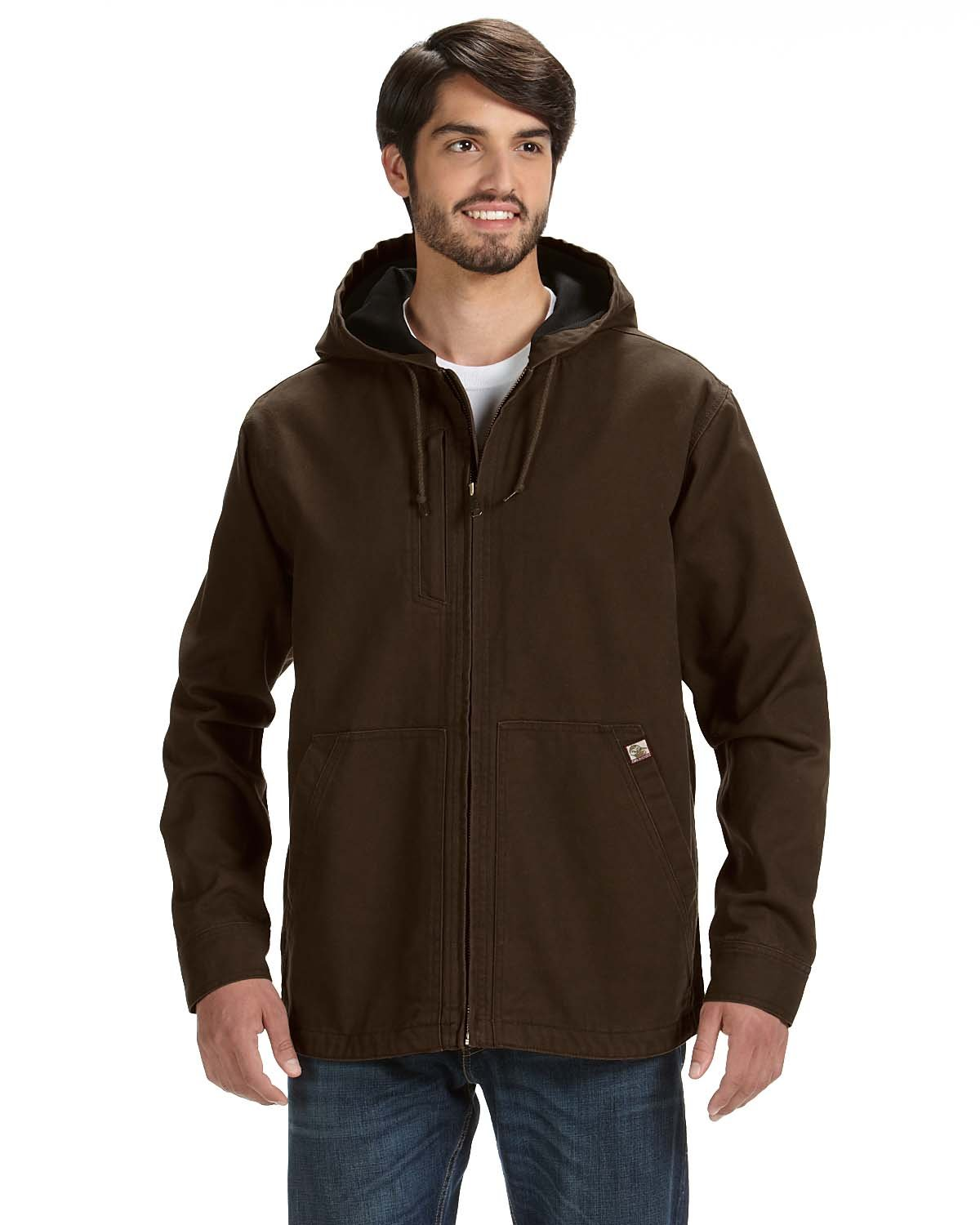 Dri Duck Men's 100% Cotton 12 oz. Canvas/Polyester Thermal Lining Hooded Tall Laredo Jacket TOBACCO
