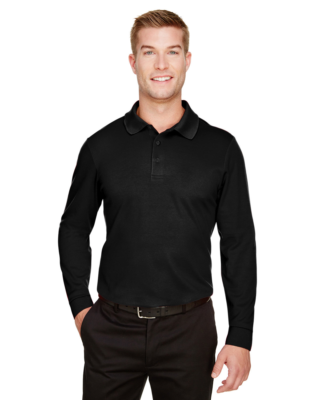 Devon & Jones CrownLux Performance™ Men's Tall Plaited Long Sleeve Polo BLACK