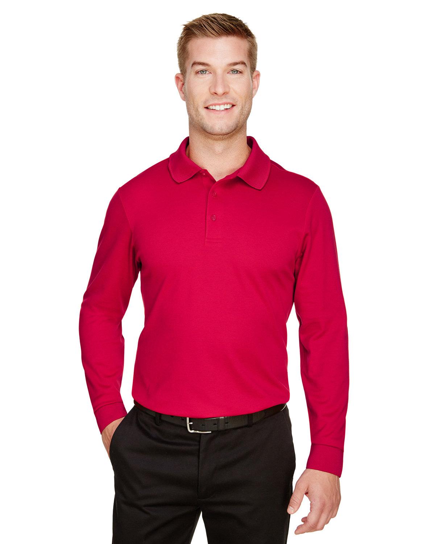 Devon & Jones CrownLux Performance™ Men's Tall Plaited Long Sleeve Polo RED