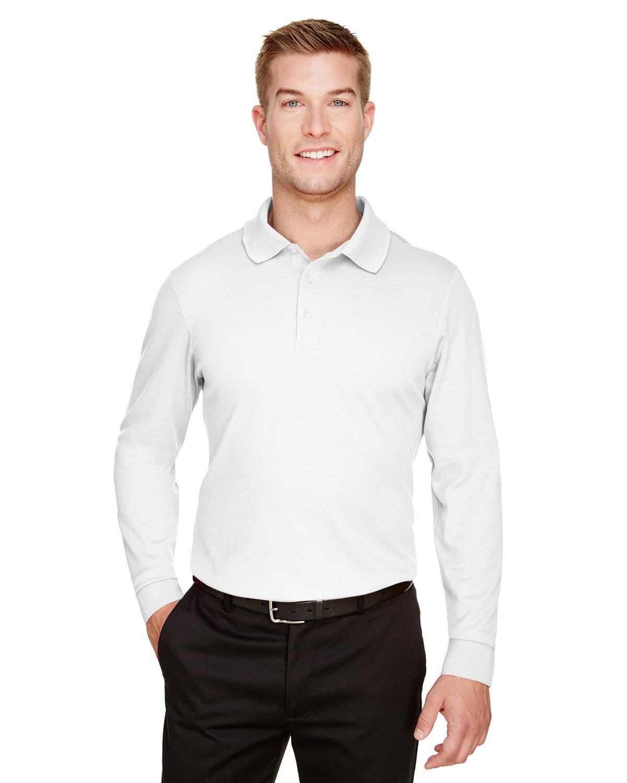 Devon & Jones CrownLux Performance™ Men's Tall Plaited Long Sleeve Polo WHITE