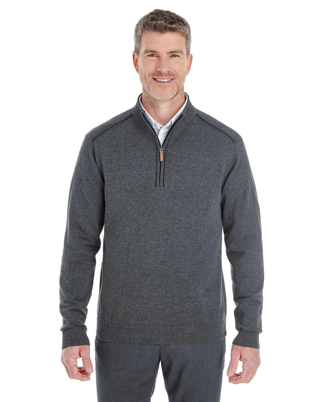 Devon & Jones Men's Manchester Fully-Fashioned Quarter-Zip Sweater DK GREY HTH/ BLK