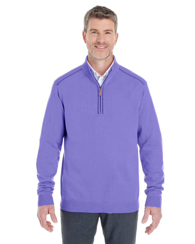 Devon & Jones Men's Manchester Fully-Fashioned Quarter-Zip Sweater GRAPE/ NAVY